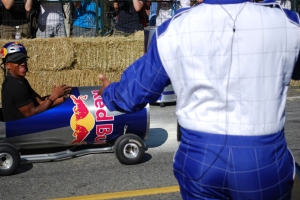 Geroy Simon in a Red Bull Can Kart