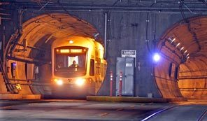 Link train in Seattle downtown tunnel