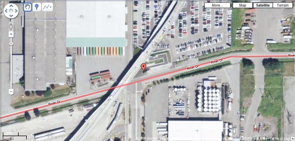 North Arm Bridge pedestrian/bike onramp (red marker)