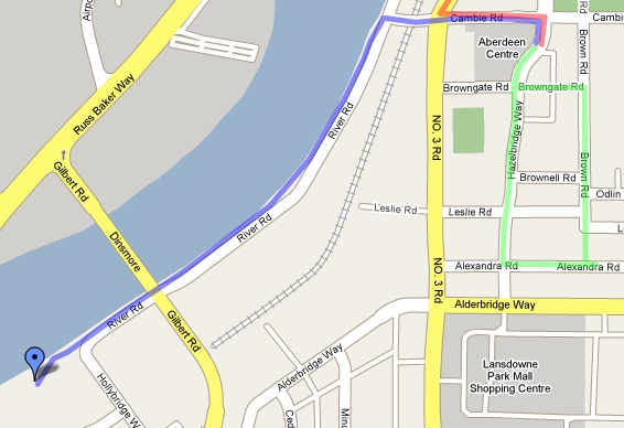 Richmond Olympic Oval to Aberdeen Centre (blue)