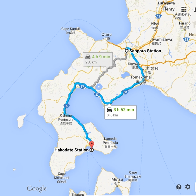 sapporo to hakodate map