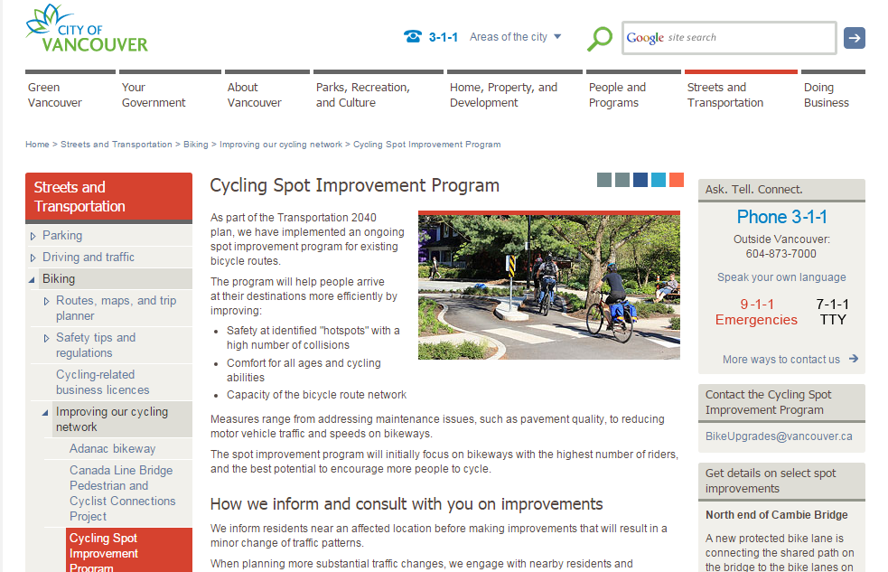 COV Cycling Spot Improvement Program screencap