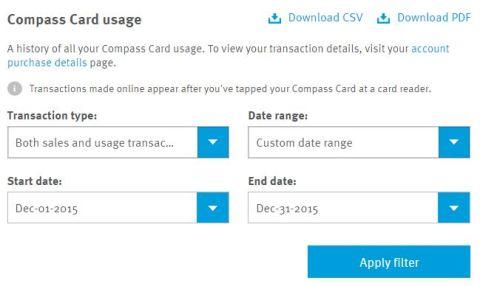 card usage filter